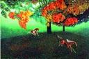 בעלי חיים ועץ עם כתר אדום