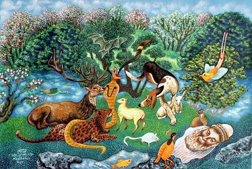 חיות על הדשא