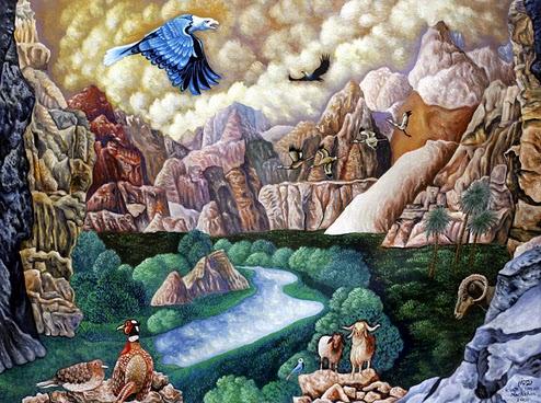 ציפור כחולה בשמים המעוננים