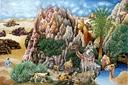 בעלי חיים על רקע ההרים