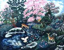 צבי ליד האגם פרחים ורודים